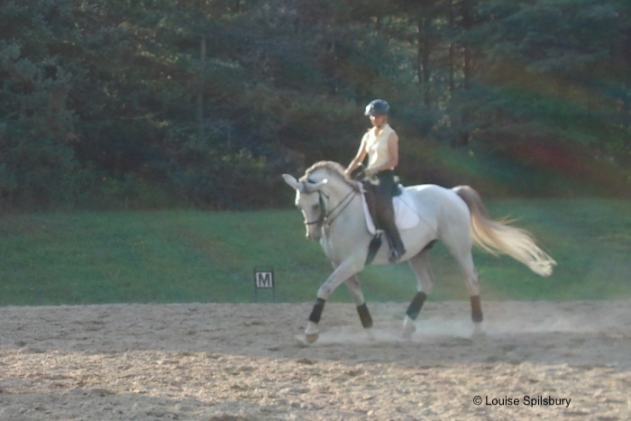 Riding lessons: Gandalf overbent, and tension causes me to grip with my knee, which in turn causes my heel to come up.